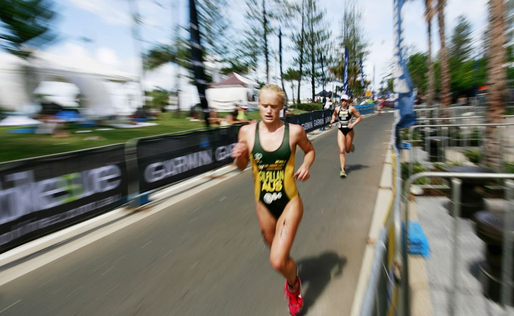 Australia's Courtney Gilfillan competing in the ITU World Cup women's race during the 2010 Mooloolaba Triathlon.