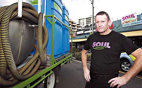 Soul Souvlaki owner operator Tony Scott is unhappy about port-a-loos being emptied directly in front of his eatery.