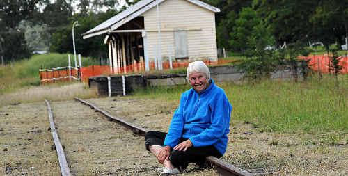 Dulcie Hewitt on the track of the Kilkivan Railway Station.