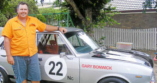 Proud 1972 Mazda RX2 owner Paul Bruce was pleased to see his mate Gary Bonwick drive for him to place second at the Phillip Island Classic.