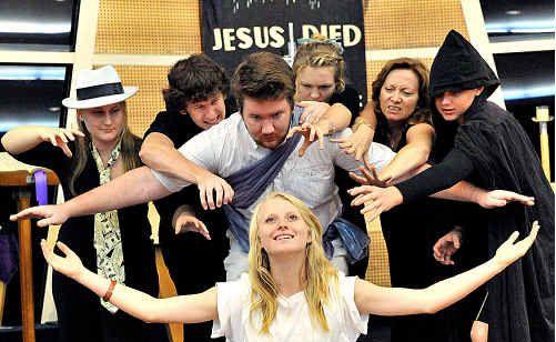 Maija Kanowski, Josh Taylor, Rhys Taylor, Brianna Beach, Luana Courtney, Tom Page and (front) Jacinta Menzel rehearse for tomorrow's service at Immanuel Lutheran Church.