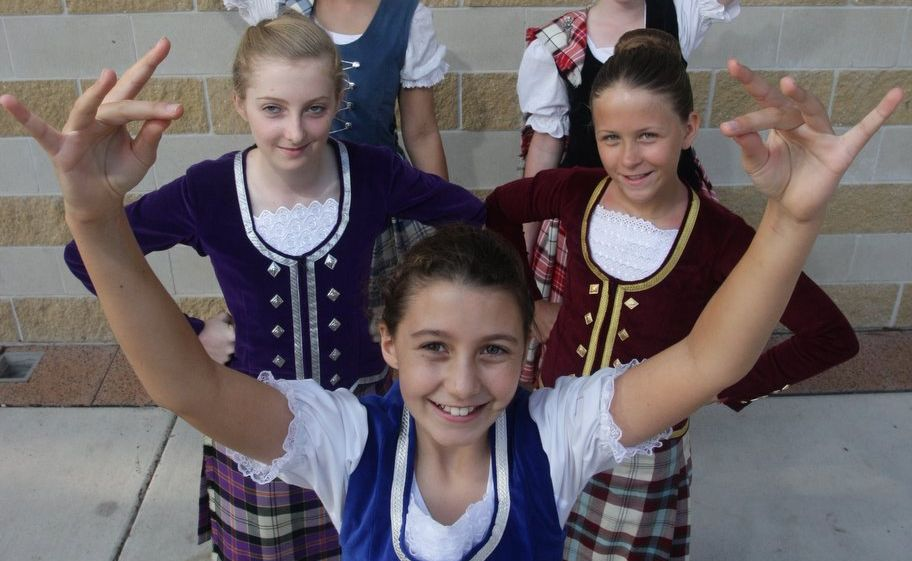 HIGHLAND dancers (from front to back) Heather Noble, Tess Simpson, Allira Baericke, Katie Dumper and Emily Cole.