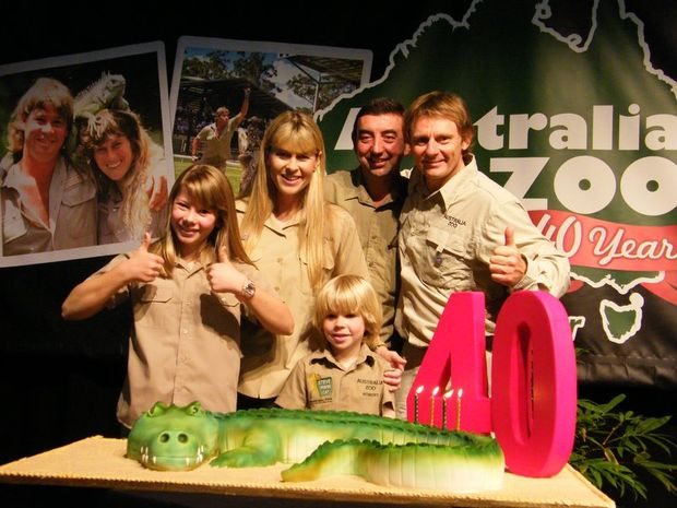 Terri, Bindi and Robert Irwin celebrate the 40th birthday of Australia Zoo with zoo bosses Frank Muscillo and Wes Mannion. Picture: Mark Furler