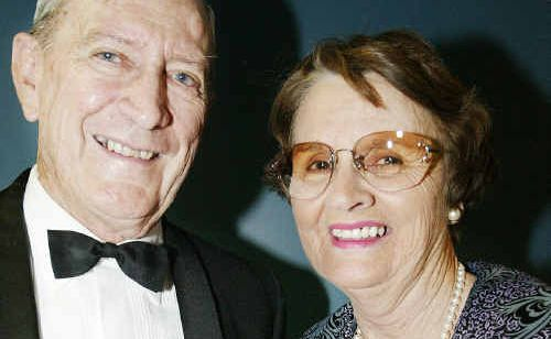 Sir Graham McCamley with his wife Lady Shirley McCamley at an industry event. Lady McCamley was killed in an ultralight crash at Marlborough on Sunday.