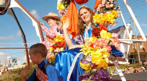 2009 Beef Week Queen Kasandra Whitney heads the parade down Casino's main street.