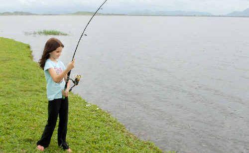Matrika Mackenzie, of Netherdale, wets a line at Kinchant Dam.