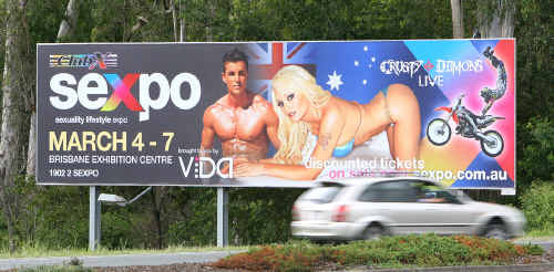 The controversial Sexpo billboard on Brisbane Street at Dinmore.