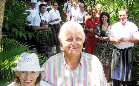 General manager of the Byron at Byron Resort John Parche and his wife Lyn celebrate the award with staff.