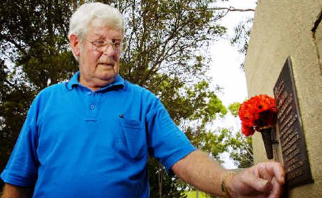 Seeking closure: Arthur 'Davey' Crockett is upset the Ballina Shire Council failed to notify him when his wife's ashes were being placed in the Royal Australian Airforce wall at the East Ballina Cemetery.