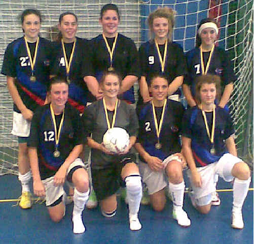The regional Under-19 Futsal squad, which also won the Junior Pacific Regional Under-17 title: Back row, from left, Ellie Fryer, Hannah Sheehan, Brooke Sheehan, Elsa Mangan, Shelby Parker; front row, Josie Bancroft, Dannielle Creighton, Ruby Edwards, Kirsty McCann.