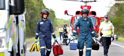 Paramedics attend the accident.