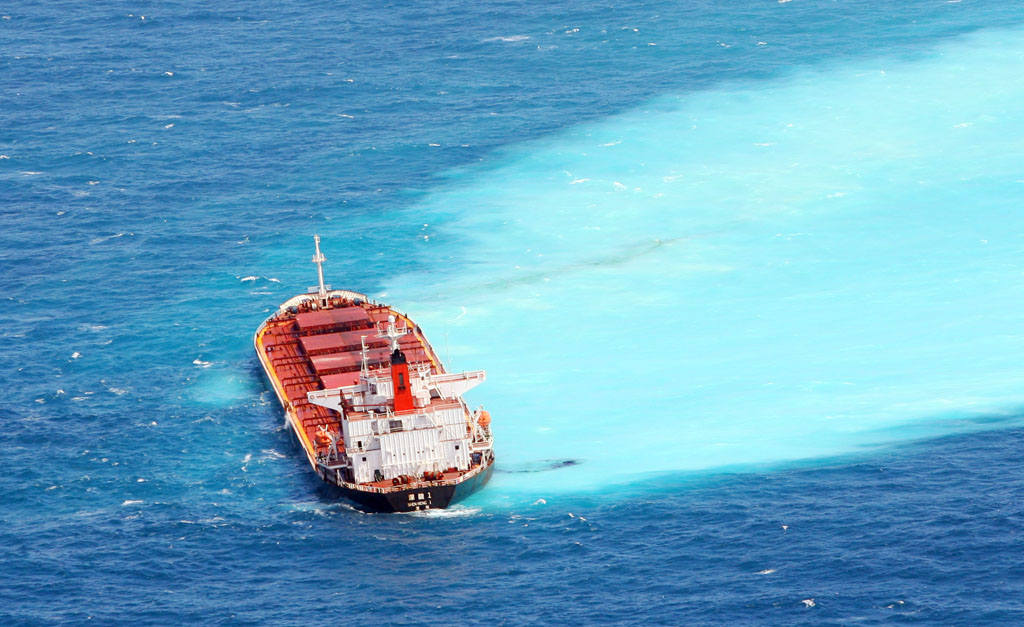 Shen Neng 1 grounded on Douglas Shoals, Great Barrier Reef approximately 100km East of Yeppoon on the Capricorn Coast.