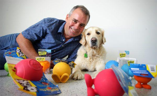 Mark Perissinotto owner of Vetshopaustralia.com.au with Ellie the Golden Retriever.