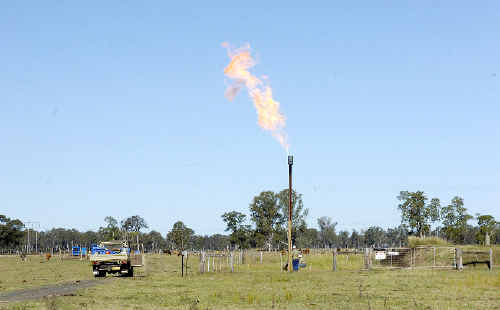 Gas bonanza: A file photo showing contractors drilling for gas at a Metgasco exploration site at Casino. Gas reserves in the area are now being developed to supply the Northern Rivers area, and hopefully the export trade into China and Japan using a proposed 140km pipeline into Queensland.