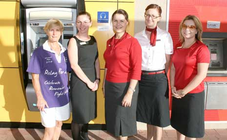 The challenge is on for the banks in this month's Relay for Life. Organiser Wendy Downes with Vicki Foster, Jo Maree, Tracey Leake and Amanda Anderson.