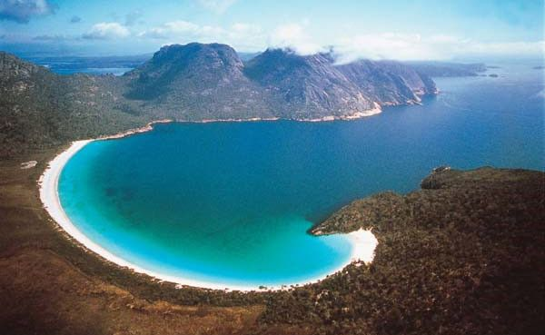 One of Tasmania's most photographed views - Wineglass Bay in Freycinet National Park.