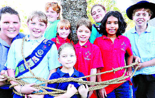 ALL TIED UP: Coffs girl guides practise their rope skills.