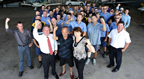 RALLY: Politicians, businessmen and Caloundra Aerodrome workers protest against the news they could be turfed out.