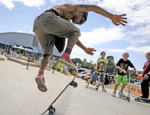 Dhinawan Baker, of Brunswick Heads, getting some air time in the open event at the Goonellabah skate park on Saturday.