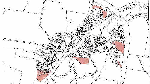 IN THE PINK: Shaded areas indicate which parcels of land have been slated for rezoning.