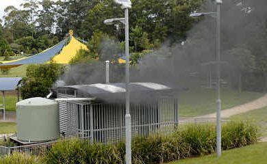 Dark smoke billows from the Kadina Park toilet block yesterday.