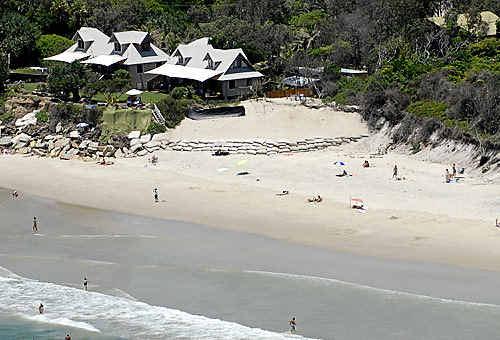Sandbag protection at Belongil Beach.