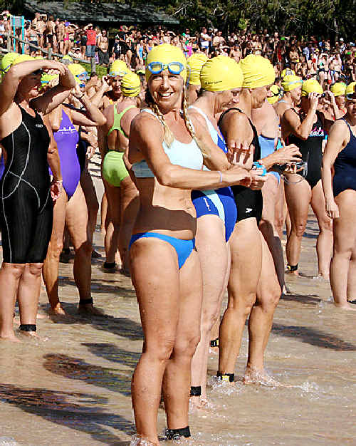 Contestants at the start of the Great Ocean Swim at Wategos Beach.
