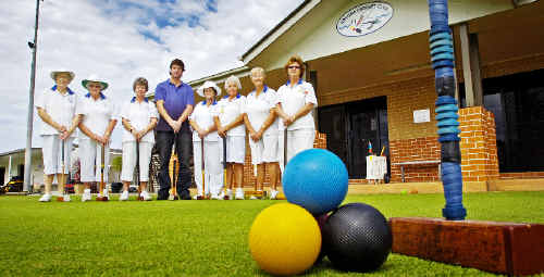 Ballina Croquet Club members (from left) Lorraine Whiteman, Pearl Slender, Jean Hill, Gwen Spencer, Joan Murphy, Val Martin and Mary Hughes voice their concerns over the new croquet club to Ballina Shire Councillor Jeff Johnson (centre).