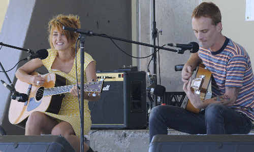 Safia Maher and Michael Hastie, of Activity Pack, perform at the Ballina Battle of the Bands, held as part of Youth Week celebrations.