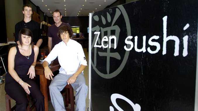 Zen Sushi owner Craig Alexander (back right) has helped (front) Kayleigh Filicietti, apprentice chefs Matthew Winner (back) and Gabriel Zenz-McCarthy into Australia's growing wokrforce.
