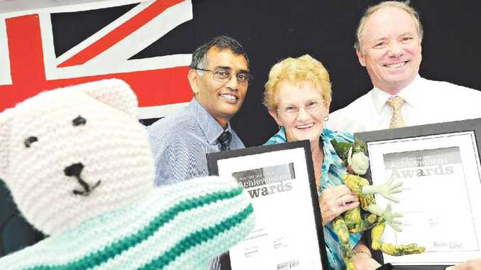HOPE BEARS: Dr Jay Ruthnam, Frances Robinson and Andrew Fraser with one of the Hope Bears given out to cancer patients.