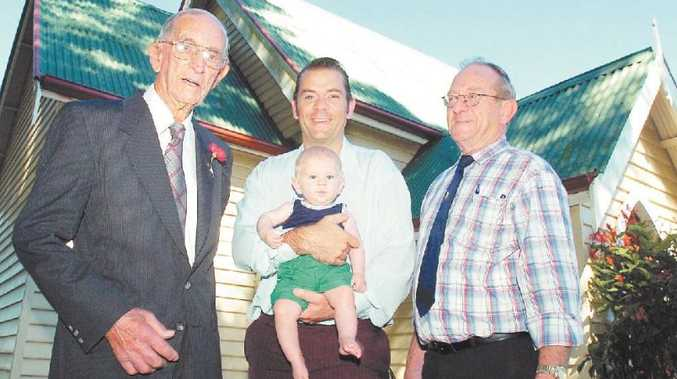 FAMILY MATTERS: Baby Ajay Gallagher has followed the family tradition in being the fourth generation of his family to be christened at Eureka's St Aidan's Anglican Church. He is pictured with great-grandfather Eric, dad Darren, and grandfather Murray.