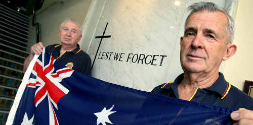 Upset: Murwillumbah RSL Sub Branch president Derek Sims and hon secretary Kevin Cheetham think Anzac Day is not appropriate for a debate about changing the flag.