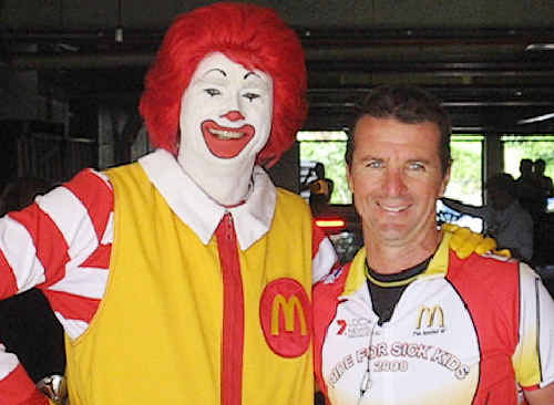 Ballina McDonald's franchisee Scott Campbell with Ronald McDonald, the public face of the global food giant's charity efforts, especially towards helping sick children.
