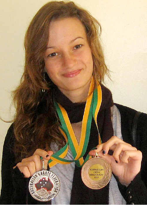 Medallist: Josephine Gardner-Marlin with the silver and bronze medals she won at the Australian Open Karate Championships in Melbourne.