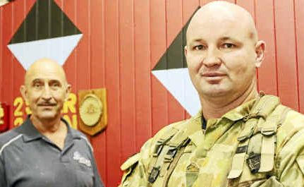Mateship: Honorary recruiting officer Johno Felton and Warwick's 25/49 RQR Battalion Sergeant Kev Neal invite you to next Tuesday's open night.