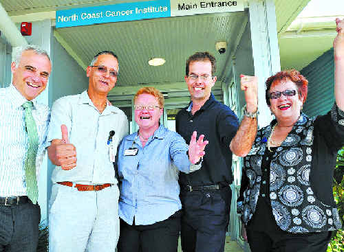 Windfall: Celebrating the MRI news are (from left) the Area Director of Cancer Services, Dr Tom Shakespeare, Director of Radiology Dr Shadley Fataar, Director of Clinical Services Dr Theresa Beswick, Chief Radiologist Dr Steven Cunningham and Network General Manager Margaret Bennett.