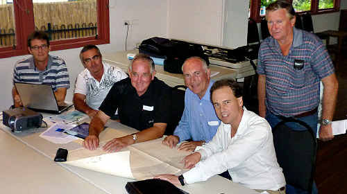 Fish review: Fishing representatives Michael Garrahy (left), Kevin Lee, Kevin Reibel, Warren Truss, Greg Hunt and (back) Terry McAndrews.