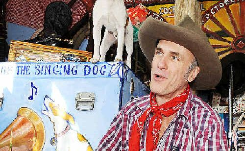 North Lismore performer and identity Jimmy Willing with Circus, his performing Parson Jack Russell, rehearsing for Saturday's gig.Jacklyn Wagner