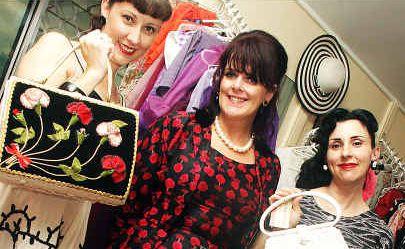 Stitch in time: Scarlett's Wardrobe owner Jennifer Turner (centre) with Melissa Cremascoli and Teresa Bernadi at the Beryl Street store's opening night.