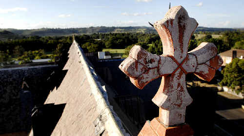 Heavenly view: The stunning view from the top of St Carthage's Cathedral in Lismore, which is undergoing a major renovation to repair damage from the violent hailstorm of October 2007.