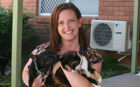 ONE OF THE FAMILY: Emerald's Debbie COle loves the company of her pets Atom and Dana.
