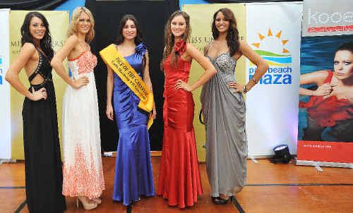 Vivacious: Miss Universe Australia regional finalists Rebecca Mitrevski, Sarah Thorpe, Suzan Wilkinson, Charmaine Perry and Leslie-Anne Smith.