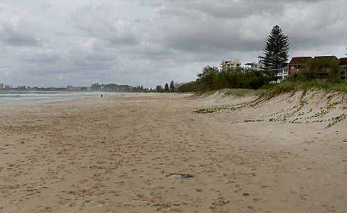 Bilinga Beach where an unidentified man died on Sunday.
