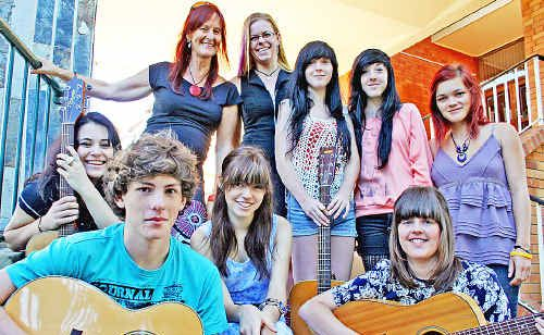 Gearing up for the Young Songwriters Competition this Friday are (rear l-r) Lismore Council's youth development officer Lizette Twisleton and competition co-ordinator Sarah-Jane Loxton with finalists Arna and Vanessa Rogers and Georgie Schulz, and fellow finalists (front l-r) Tori Zietsch, Alex Waters and Maddigan Henderson (who make up the band Koikids) and Steph Rogers.