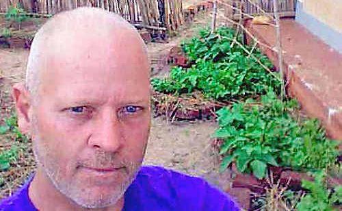 Steve Cran with his garden in Uganda after four weeks.