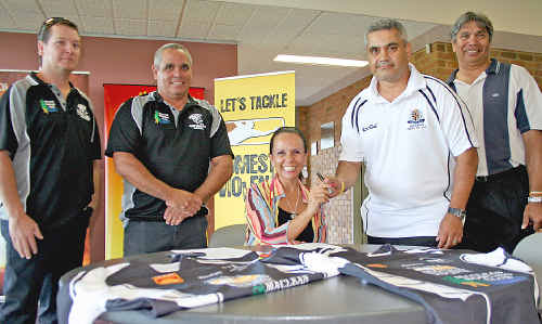Clarence Valley Magpies president Ben Campbell and coach Ricky Binge, NSW Minister for Community Services Linda Burney and Northern United coach Chris Binge and president Laurie Mercy.