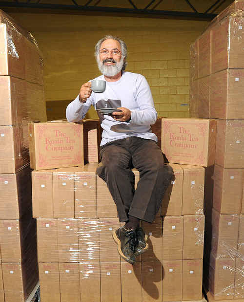 Treasure Chest: Howard Rubin, of Koala Tea at Alstonville, toasts the export success of theirbusiness with a warm cuppa.