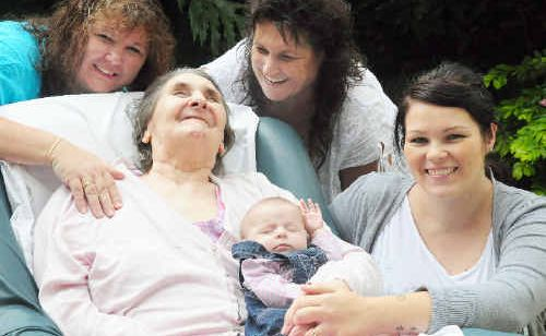 The birth of little Lucy Parker (front) meant an amazing achievement for one Coffs Harbour family – five generations of women. Clockwise from left: Lesley Sole, Caroline Bentley, Lissia Parker and Joyce Johnson.