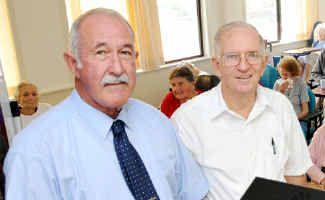 ANZAC spirit: Ivan Friske with Uniting Church Pastor Graham Bizzell yesterday.